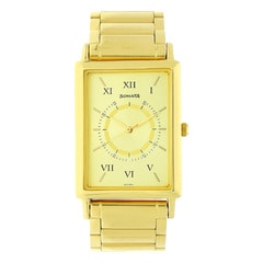 Sonata Champagne Dial Analog Watch For Men-NG77003YM02A