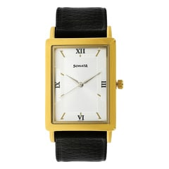 Sonata Leather Strap Watch for Men
