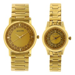 Sonata Golden Dial Analog Pair Watches