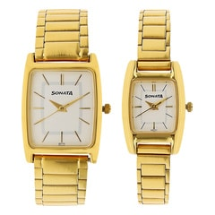 Sonata White Dial Analog Watch for Pair