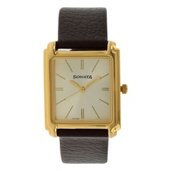 Champagne Dial Leather Strap Watch
