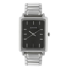 Black Dial Stainless Steel Strap Watch