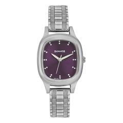 Purple Dial Stainless Steel Strap Watch