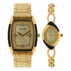 Sonata Champagne Dial Analog Watches for Pair