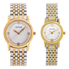 Sonata Silver White dial Analog Watch for Pair