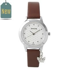 Sonata Charmed White Dial Analog Watch for Women
