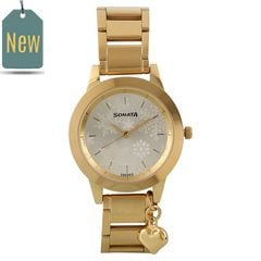 Titan Charmed GOLD Dial Analog Watch for Women