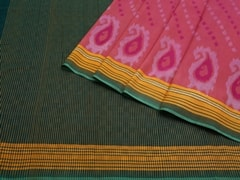 Handloom Light Pink Pochampally | Ikat Threads Collection | Unstitched Blouse Piece