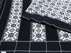Handloom Black and White Pochampally | Ikat Threads Collection | Unstitched Blouse Piece