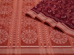 Handloom Dark Red Sambalpur | Ikat Threads Collection | Unstitched Blouse Piece