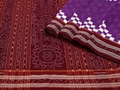Handloom Violet Sambalpur | Ikat Threads Collection | No Blouse Piece