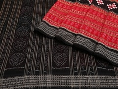 Handloom Black and Red Sambalpur | Ikat Threads Collection | No Blouse Piece