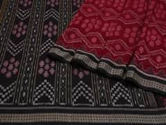 Handloom Dark Red Sambalpur | Ikat Threads Collection | No Blouse Piece