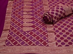 Handloom Violet Gujarat | Jaal- patterns of grace Collection | Unstitched Blouse Piece