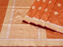 Handloom Light Orange Banaras | Sona Chandi- the dual gleam Collection | Unstitched Blouse Piece