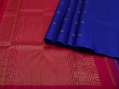Handloom Blue and Pink Pure Zari Kanjeevaram | Karai-presence or absence Collection | Unstitched Blouse Piece