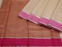 Handloom Beige Chanderi | Aaina- Zari Pastels Collection | Unstitched Blouse Piece