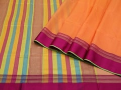 Handloom Orange Maheshwar | Aaina- Zari Pastels Collection | Unstitched Blouse Piece