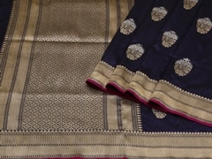 Handloom Dark Blue Banaras | Sona Chandi- the dual gleam Collection | Unstitched Blouse Piece