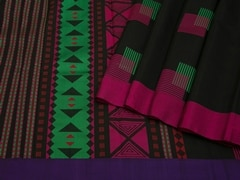 Handloom Black South Silk Cotton | Unstitched Blouse Piece