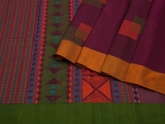 Handloom Violet South Silk Cotton | Unstitched Blouse Piece
