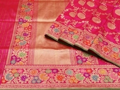 Handloom Pink Banaras | Jaal- patterns of grace Collection | Unstitched Blouse Piece