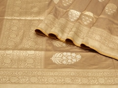 Handloom Beige Banaras | Sona Chandi- the dual gleam Collection | Unstitched Blouse Piece