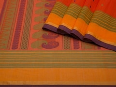 Handloom Orange South Cotton | Unstitched Blouse Piece