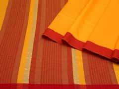Handloom Dark Yellow Maheshwar | Aaina- Zari Pastels Collection | Unstitched Blouse Piece