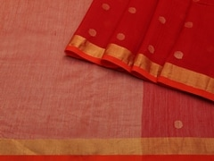 Handloom Red Bengal | Bengal Jamdani Collection | Unstitched Blouse Piece
