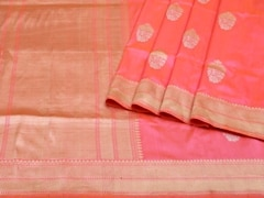 Handloom Light Pink Banaras | Sona Chandi- the dual gleam Collection | Unstitched Blouse Piece