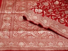 Handloom Red Banaras | Jaal- patterns of grace Collection | Unstitched Blouse Piece