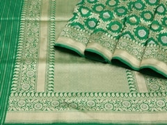 Handloom Green Banaras | Jaal- patterns of grace Collection | Unstitched Blouse Piece