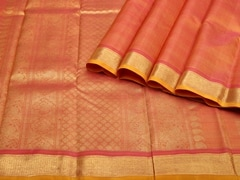 Handloom Orange and Pink Pure Zari Kanjeevaram | Vaira Oosi- the zari opulence Collection | Unstitched Blouse Piece