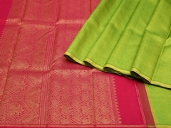 Handloom Green Pure Zari Kanjeevaram | Karai-presence or absence Collection | Unstitched Blouse Piece