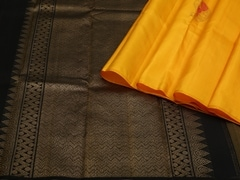 Handloom Yellow Pure Zari Kanjeevaram | Karai-presence or absence Collection | Unstitched Blouse Piece
