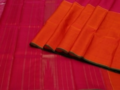Handloom Orange and Pink Pure Zari Kanjeevaram | Karai-presence or absence Collection | Unstitched Blouse Piece