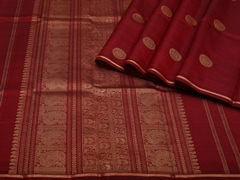 Handloom Maroon Pure Zari Kanjeevaram | Karai-presence or absence Collection | Unstitched Blouse Piece