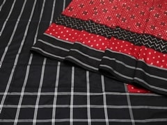 Handloom Black and Red Pochampalli | Ikat Threads Collection | Unstitched Blouse Piece