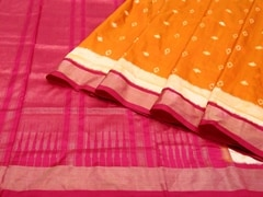 Handloom Orange Pochampalli | Ikat Threads Collection | Unstitched Blouse Piece