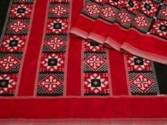 Handloom Black Red and White Pochampalli | Ikat Threads Collection | Unstitched Blouse Piece