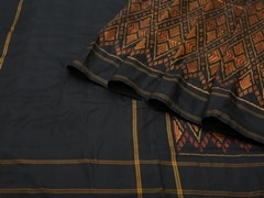 Handloom Black and Yellow Pochampalli | Ikat Threads Collection | Unstitched Blouse Piece