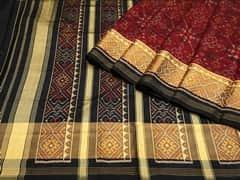Handloom Dark Red Rajkot | Ikat Threads Collection | Unstitched Blouse Piece