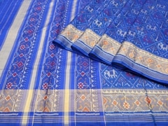 Handloom Blue Rajkot | Ikat Threads Collection | Unstitched Blouse Piece