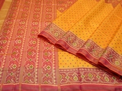 Handloom Gold Rajkot | Ikat Threads Collection | Unstitched Blouse Piece