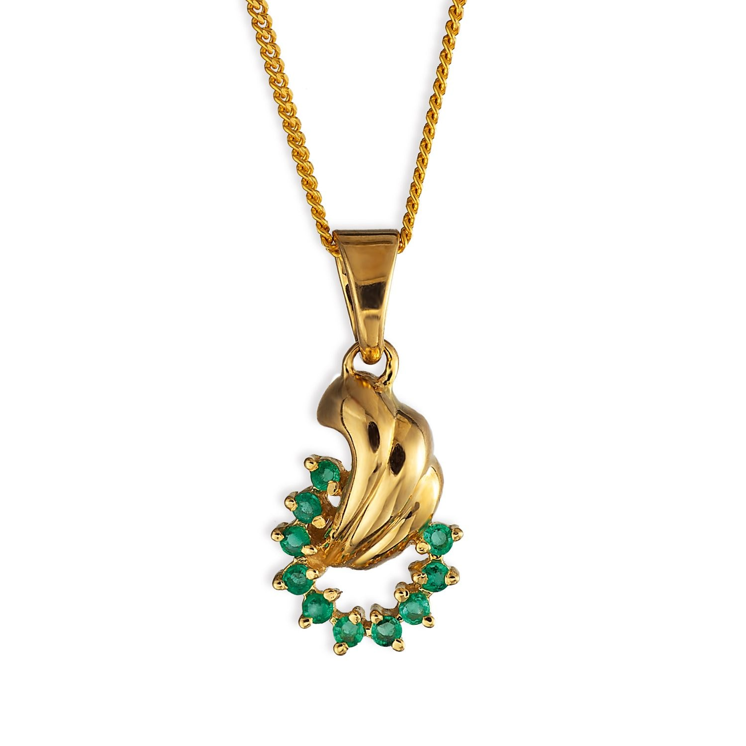 Tanishq 18KT Yellow Gold Emerald Pendant with Stylized
