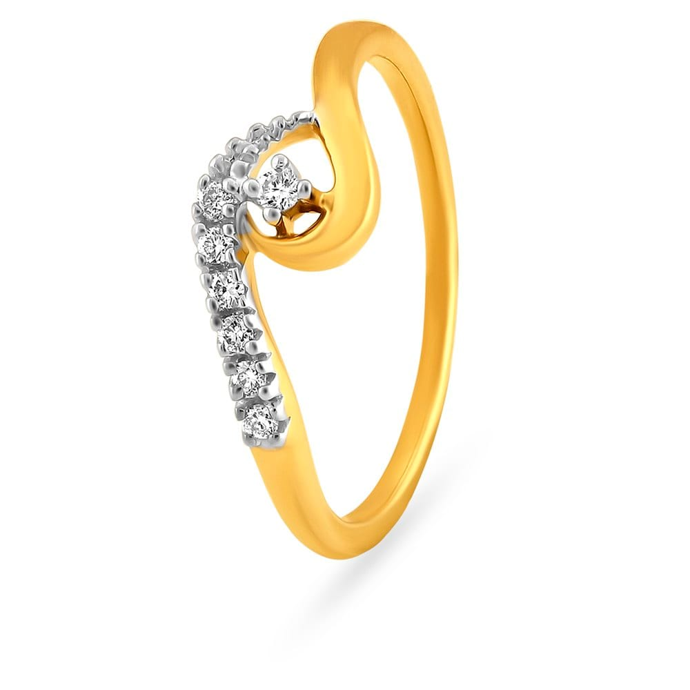 Buy Tanishq 18KT Yellow Gold Studded Finger Ring for Women AT Best ...