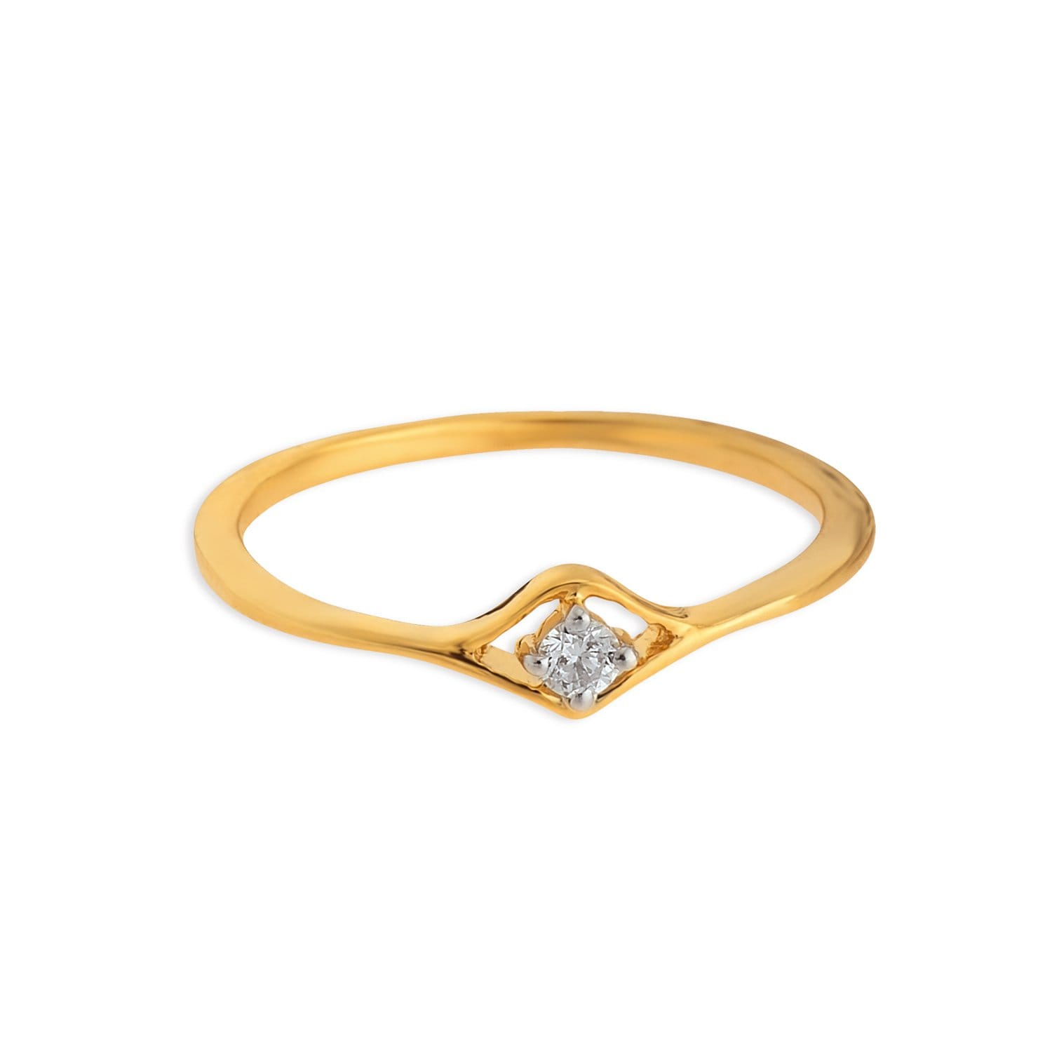 Buy 18K Yellow Gold Ring with Round Brilliant Cut Diamonds for ...