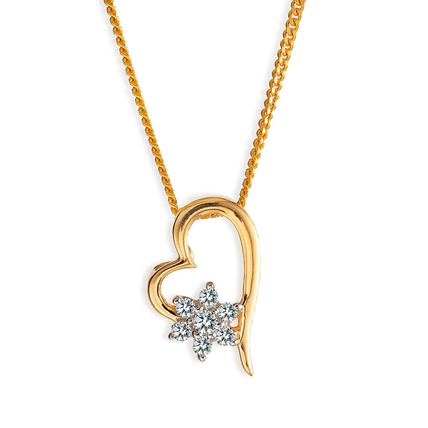 Buy Tanishq 18KT Yellow Gold Studded Pendant for Women AT Best
