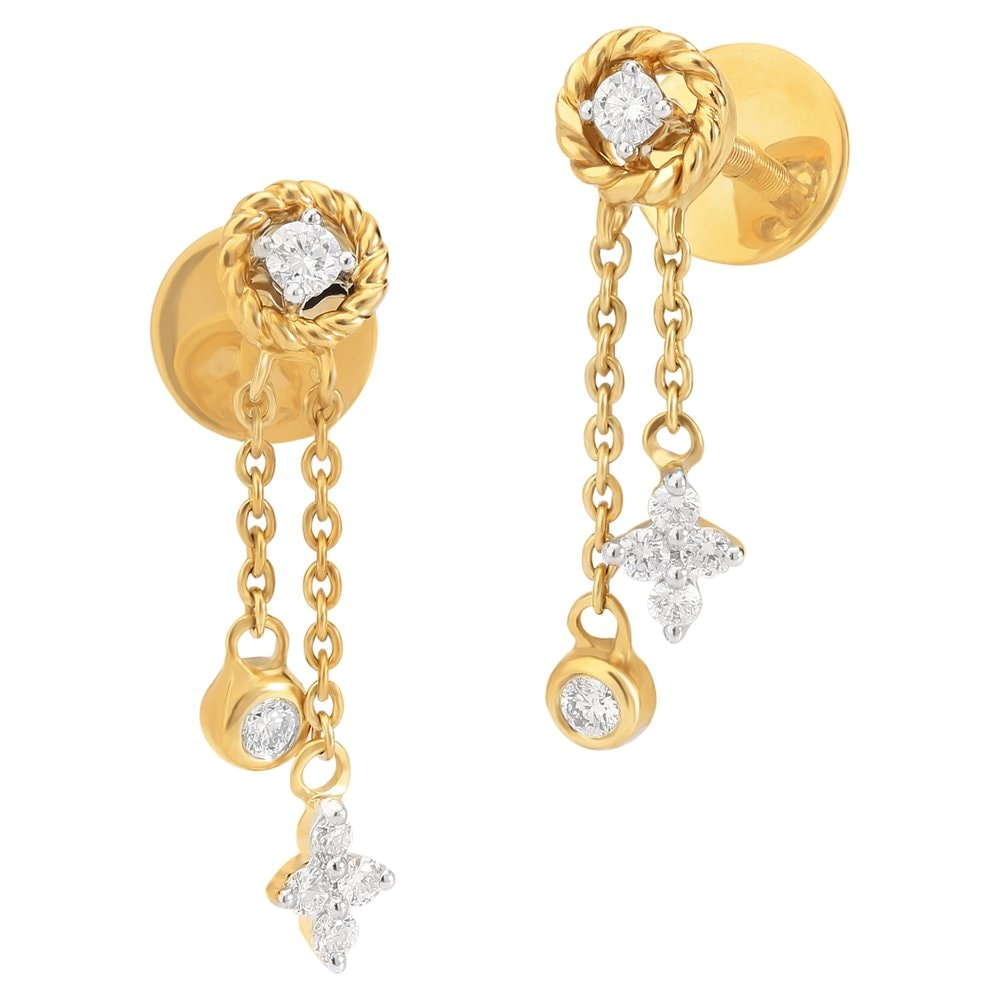 Tanishq 18KT Diamond Studded Gold Earring for Women ID ...
